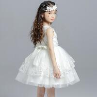 白色儿童婚纱连衣裙花童礼服公主裙蓬蓬裙童装女童纱裙夏装 白色