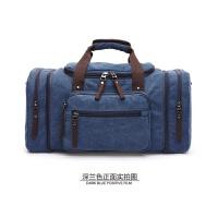 大容量手提旅行包帆布单肩包复古斜挎包男女休闲短途旅行袋行李包 大