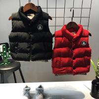 冬季新款韩版男女童百搭后背字母立领保暖羽绒棉马甲外套A1-A2