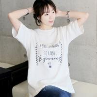 夏季竹节棉宽松白色短袖T恤女韩版学生百搭字母印花女士中袖体恤 白色