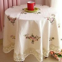 餐桌布台布 加厚桌旗 丝带绣花茶几布艺时尚田园圆桌布盖布 手工花朵桌布