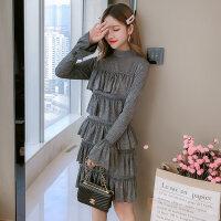 秋冬季2018新款时尚裙复古半高领亮丝喇叭长袖修身高腰连衣裙 图片色