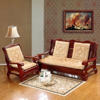 实木沙发垫冬季加厚毛绒春秋长椅垫木质三人木头垫子坐垫