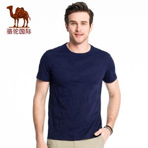骆驼男装 2018夏季新款休闲舒适棉质迷彩圆领短袖青年夏装T恤