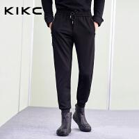 【商场同款】kikc男装针织裤2017新款纯色收脚哈伦裤休闲长裤男士