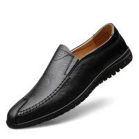 秋季男鞋懒人豆豆鞋男士商务休闲皮鞋软底中年一脚蹬爸爸鞋子
