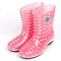 秋冬雨鞋女韩国时尚中筒雨靴加棉绒保暖短筒胶鞋水靴防滑套鞋 粉红 单鞋