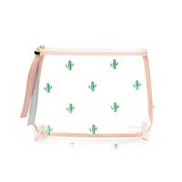 夏日清爽甜美可爱仙人掌印花干净透明塑料化妆包洗漱包 透明大号
