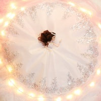 会说话的芭比娃娃智能对话超大套装仿真洋婚纱公主女孩玩具单个布 A款 彩儿 白色棕发0 收藏加购送3件小礼服 音乐版