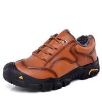 秋冬季户外男鞋登山鞋徒步鞋真皮防滑加绒加棉男士运动休闲