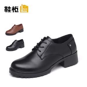 达芙妮集团 鞋柜秋款圆头方跟英伦风休闲女单鞋