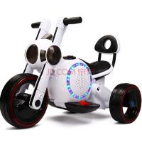 W 儿童电动车摩托车三轮玩具汽车 加大款 带音乐灯光 加厚摇摆婴幼儿小孩宝宝可坐骑可充电瓶