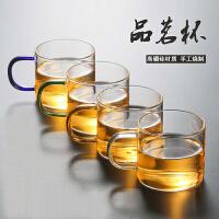 lanpiind郎品带把彩柄耐热玻璃杯功夫茶具品茗杯茶杯小杯子茶盘使用杯100ml