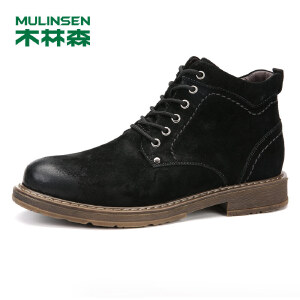 木林森99高帮男鞋反绒皮舒适休闲鞋时尚工装男鞋