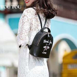 TOUTOU2017夏天新款刺绣图案韩版简约百搭双肩包时尚个性大容量背包潮