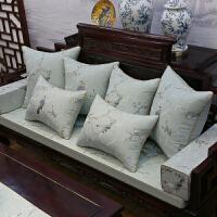 新中式家具沙发坐垫棉麻刺绣靠垫实木椅垫罗汉床坐垫防滑定做 闻雁-淡蓝