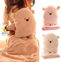豆豆熊方熊抱枕毯公仔靠垫 保暖手捂空调被 毛绒玩具