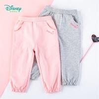 迪士尼Disney童装 女童休闲花边长裤儿童纯棉裤子年春季新品迪斯尼宝宝花边脚口外裤