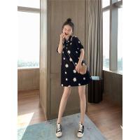 小雏菊polo领连衣裙2020夏季新款甜美宽松显瘦中长款短袖t恤裙女