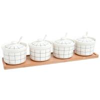陶瓷调味罐厨房用品调味料罐套装佐料盒调味盒盐罐调味料瓶四件套