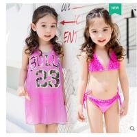 儿童泳衣女孩比基尼大童小童温泉可爱公主泳装三件套分体运动宝宝