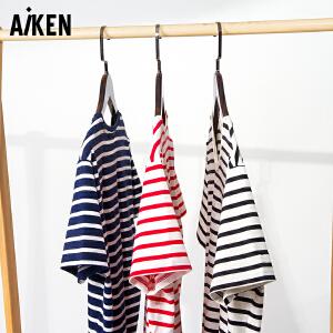 森马旗下Aiken男士黑白红白条纹短袖T恤夏季韩版修身圆领海魂衫体恤潮男装衣服