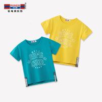 【秒杀价:18】铅笔俱乐部童装2019夏季男童圆领短袖T恤中大童儿童休闲上衣潮