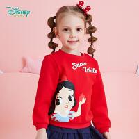 迪士尼Disney童装 白雪公主印花抓绒卫衣秋季新品女童保暖上衣193S1220
