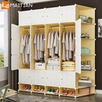 衣柜简易布衣橱现代简约出租房用卧室布艺仿实木组装塑料收纳柜子