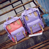 2017新款撞色帆布双肩包韩版休闲女包大包包学生背包旅行包