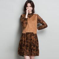 2018春季新款韩版背心+中长款蕾丝连衣裙女A字裙套装一件 焦糖