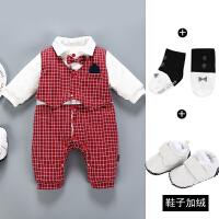 婴儿连体薄棉衣加厚0-3个月6满月百天宝宝9男绅士1周岁礼服秋冬装