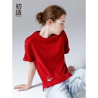 初语夏季新款chic红色短袖T恤女上衣短款纯棉休闲体恤潮