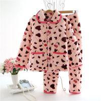 冬季三层加厚法兰绒夹棉睡衣套装冬款长袖珊瑚绒夹棉家居服