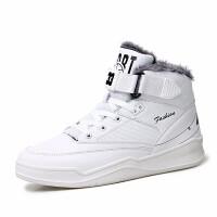 冬季加绒白色高帮鞋男士运动休闲鞋青少年学生棉鞋防水加毛高邦鞋