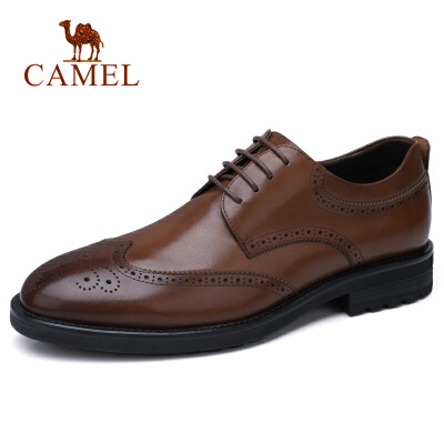 camel 骆驼男鞋 秋季新款商务休闲男士皮鞋系带办公德比鞋休闲皮鞋