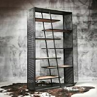 北欧工业风书架隔断屏风铁艺置物架展示架玄关实木架子创意储物柜 180*30*200CM 7层板