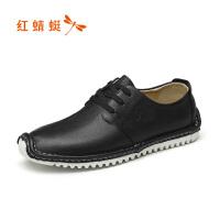 【领�幌碌チ⒓�120】红蜻蜓男鞋年春季新款皮鞋时尚休闲系带单鞋低帮鞋韩版潮