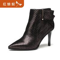 【红蜻蜓领�涣⒓�150】金粉世家 红蜻蜓旗下 秋冬新款女士女靴羊皮细跟短靴女鞋