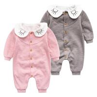 女婴儿连体衣服0岁3个月男宝宝新生儿春秋装1套装6外出服春装哈衣