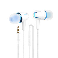 手机耳机线控重低音音乐运动高保真苹果oppo耳机vivo华为小米入耳式手机K歌HiFi耳塞-白蓝