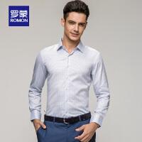 「狂欢!特价商品到手价:99」Romon/罗蒙新款长袖衬衫100%纯棉免烫正装男商务休闲修身格子衬衣