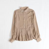 女春款新长袖雪纺衫 钉钻修身裙摆衬衫39
