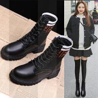 瘦瘦靴ins马丁靴女冬加绒袜子靴短筒ulzzang平底2018短靴单靴女鞋SN3471