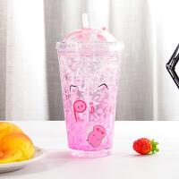 碎冰杯 女士日系双层卡通可爱创意夏日学生少女心便携塑料冰杯带吸管滑盖大容量小清新杯子