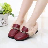 儿童短靴女童鞋冬季2018新款韩版英伦风公主鞋加绒宝宝棉鞋豆豆鞋