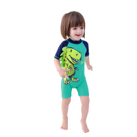 儿童泳衣男童连体游泳衣裤温泉速干小儿童宝宝卡通可爱平角裤防晒 青色