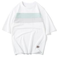 男装夏季宽松短袖T恤男士日系圆领纯棉拼色青年体恤上衣潮流批发