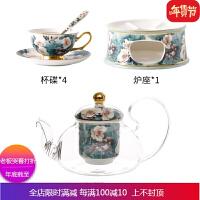 杜鹃鸟陶瓷玻璃加热壶套装带过滤欧式下午茶茶具保温泡茶壶 自店营年货