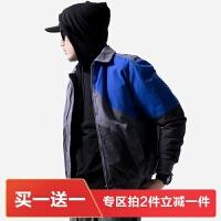 【特价】冬季韩版青年拼色加厚港风棉衣男帅气外套潮牌冬装